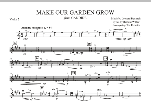 Ted Ricketts Make Our Garden Grow (from Candide) - Violin 2 sheet music notes and chords. Download Printable PDF.