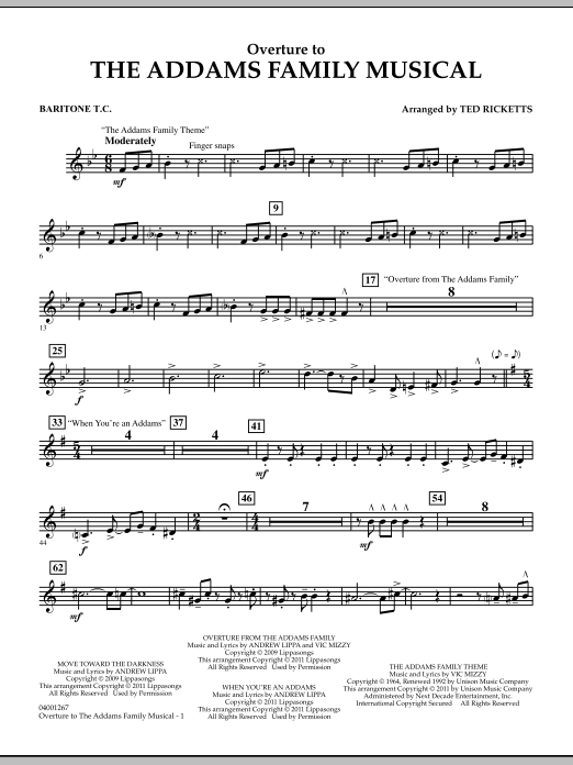 Ted Ricketts Overture to The Addams Family Musical - Baritone T.C. sheet music notes and chords. Download Printable PDF.