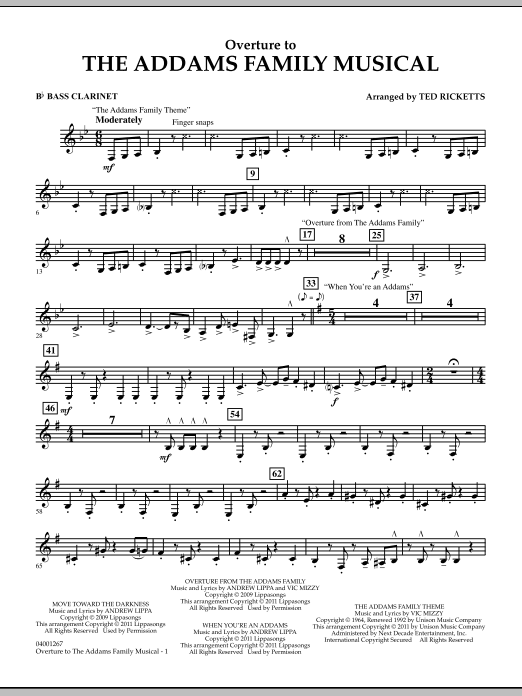 Ted Ricketts Overture to The Addams Family Musical - Bb Bass Clarinet sheet music notes and chords. Download Printable PDF.