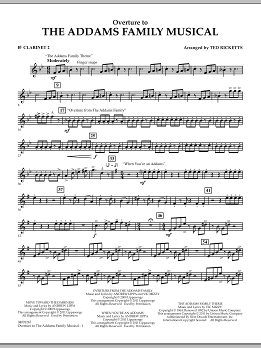 Ted Ricketts Overture to The Addams Family Musical - Bb Clarinet 2 sheet music notes and chords. Download Printable PDF.
