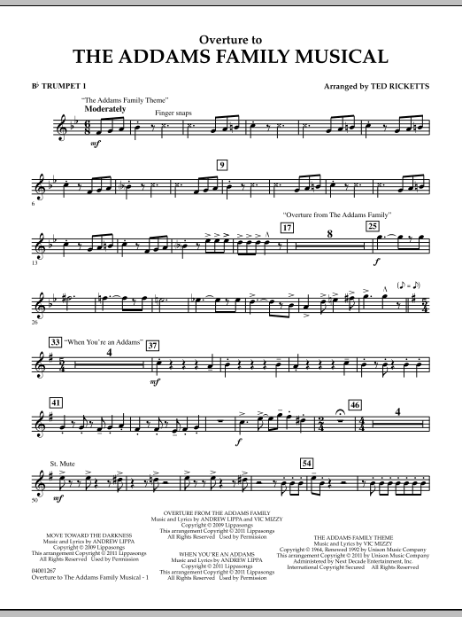 Ted Ricketts Overture to The Addams Family Musical - Bb Trumpet 1 sheet music notes and chords. Download Printable PDF.