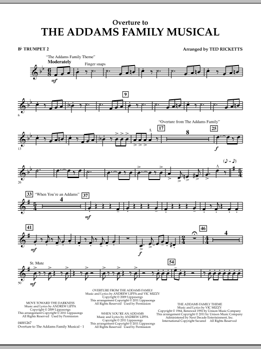 Ted Ricketts Overture to The Addams Family Musical - Bb Trumpet 2 sheet music notes and chords. Download Printable PDF.