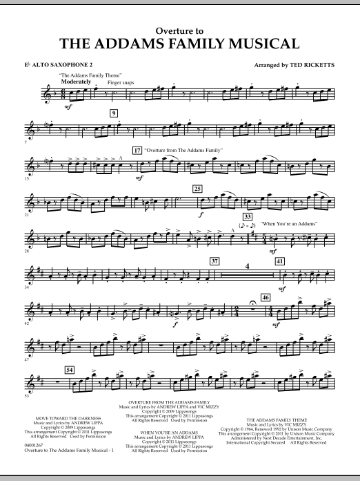 Ted Ricketts Overture to The Addams Family Musical - Eb Alto Saxophone 2 sheet music notes and chords. Download Printable PDF.