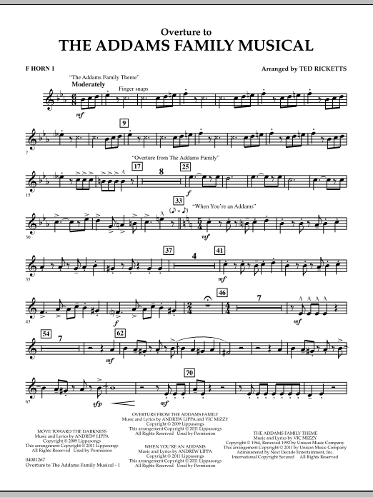 Ted Ricketts Overture to The Addams Family Musical - F Horn 1 sheet music notes and chords. Download Printable PDF.
