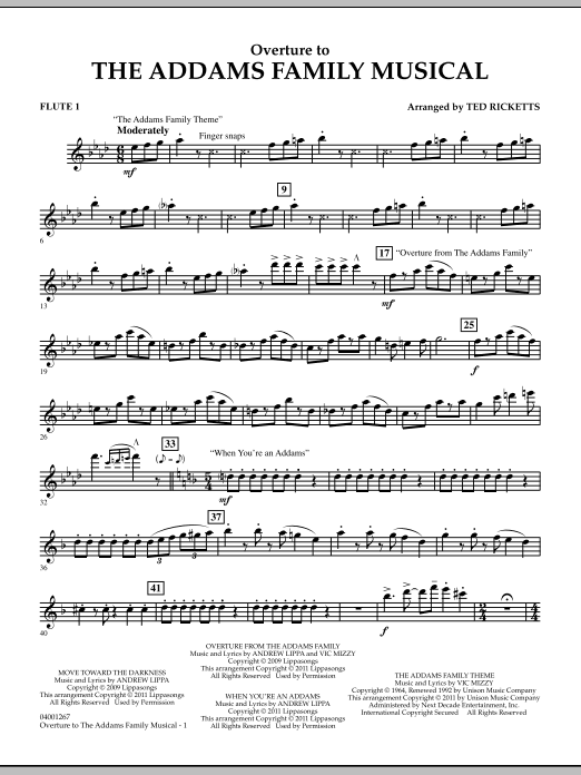 Ted Ricketts Overture to The Addams Family Musical - Flute 1 sheet music notes and chords. Download Printable PDF.