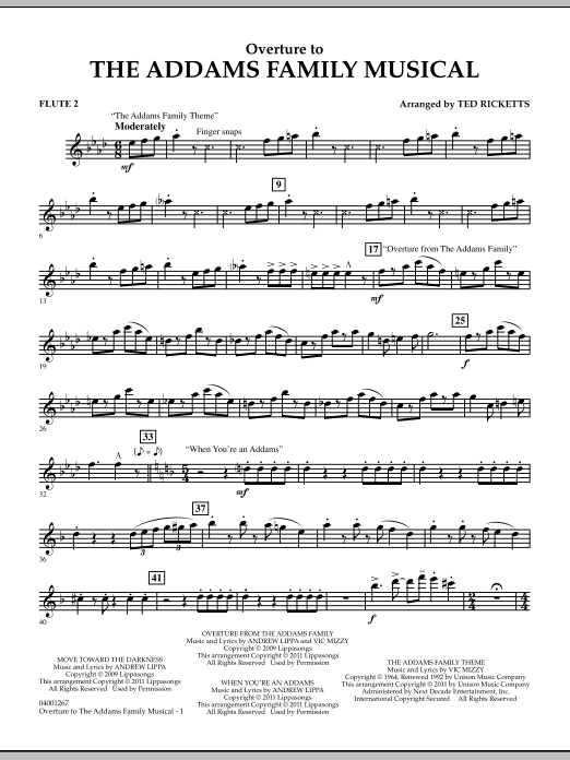Ted Ricketts Overture to The Addams Family Musical - Flute 2 sheet music notes and chords. Download Printable PDF.