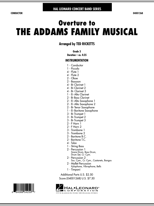 Ted Ricketts Overture to The Addams Family Musical - Full Score sheet music notes and chords. Download Printable PDF.