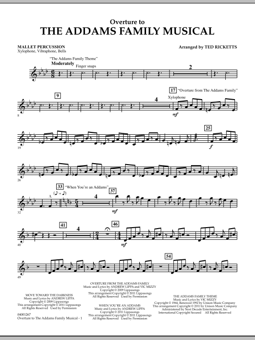 Ted Ricketts Overture to The Addams Family Musical - Mallet Percussion sheet music notes and chords. Download Printable PDF.