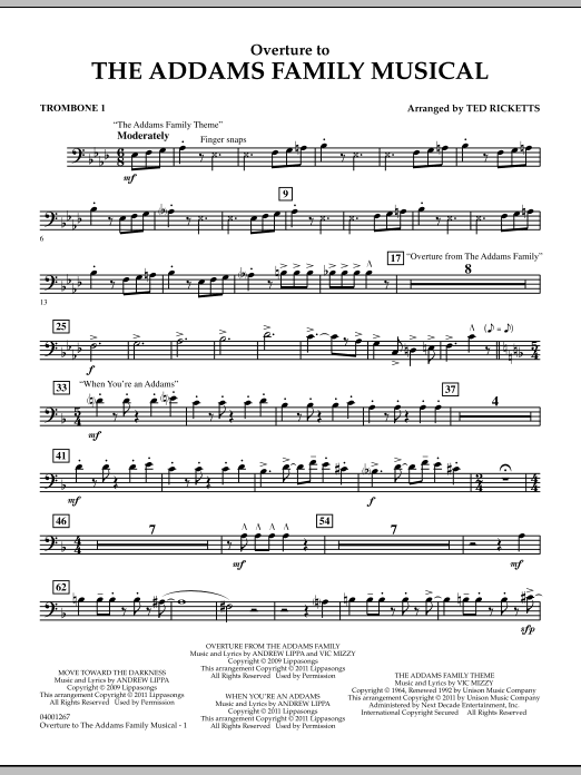 Ted Ricketts Overture to The Addams Family Musical - Trombone 1 sheet music notes and chords. Download Printable PDF.
