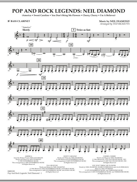 Ted Ricketts Pop and Rock Legends - Neil Diamond - Bb Bass Clarinet sheet music notes and chords. Download Printable PDF.