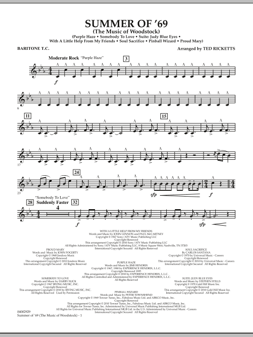 Ted Ricketts Summer Of '69 (The Music Of Woodstock) - Baritone T.C. sheet music notes and chords. Download Printable PDF.