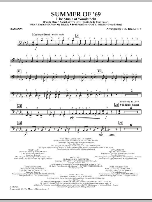 Ted Ricketts Summer Of '69 (The Music Of Woodstock) - Bassoon sheet music notes and chords. Download Printable PDF.