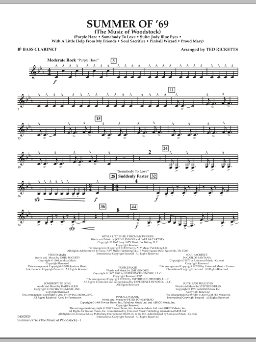 Ted Ricketts Summer Of '69 (The Music Of Woodstock) - Bb Bass Clarinet sheet music notes and chords. Download Printable PDF.