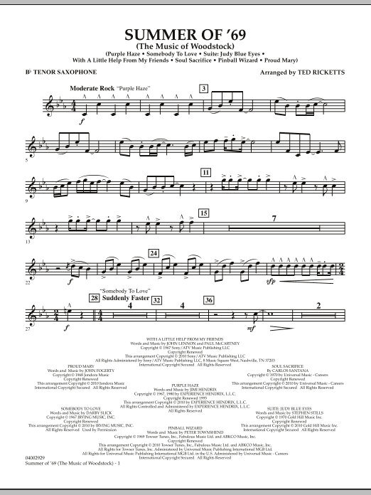 Ted Ricketts Summer Of '69 (The Music Of Woodstock) - Bb Tenor Saxophone sheet music notes and chords. Download Printable PDF.