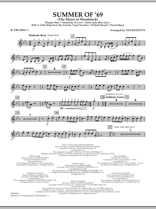 Ted Ricketts Summer Of '69 (The Music Of Woodstock) - Bb Trumpet 1 sheet music notes and chords. Download Printable PDF.