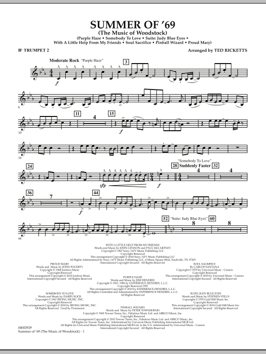 Ted Ricketts Summer Of '69 (The Music Of Woodstock) - Bb Trumpet 2 sheet music notes and chords. Download Printable PDF.
