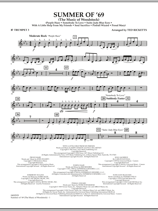 Ted Ricketts Summer Of '69 (The Music Of Woodstock) - Bb Trumpet 3 sheet music notes and chords. Download Printable PDF.