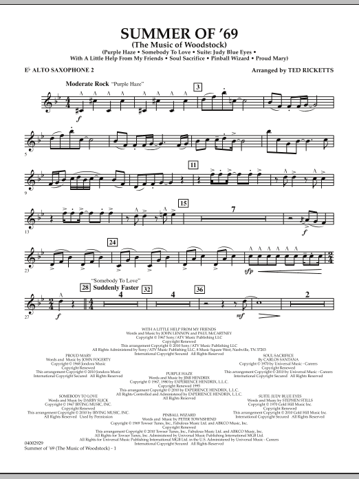 Ted Ricketts Summer Of '69 (The Music Of Woodstock) - Eb Alto Saxophone 2 sheet music notes and chords. Download Printable PDF.