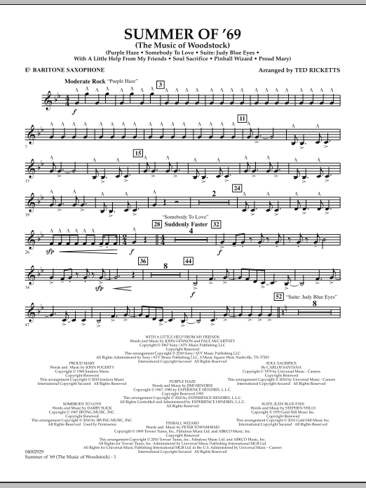 Ted Ricketts Summer Of '69 (The Music Of Woodstock) - Eb Baritone Saxophone sheet music notes and chords. Download Printable PDF.