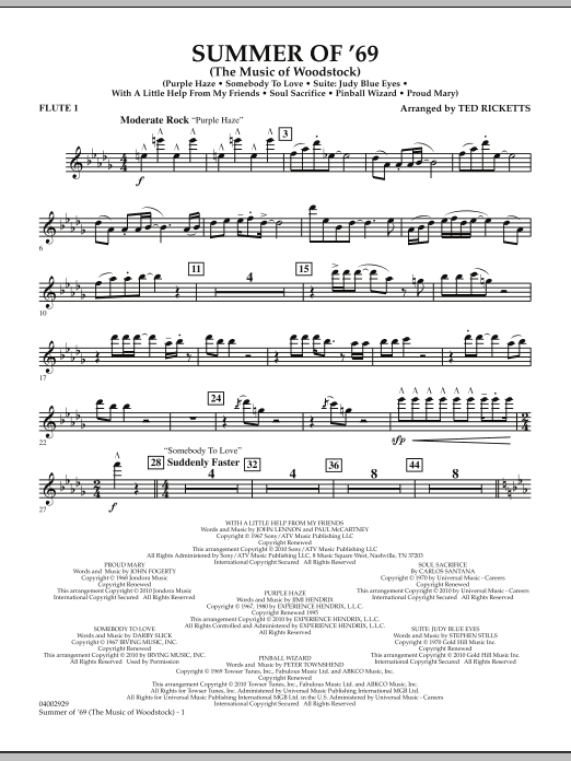 Ted Ricketts Summer Of '69 (The Music Of Woodstock) - Flute 1 sheet music notes and chords. Download Printable PDF.
