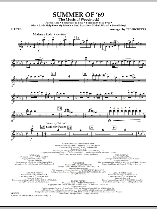 Ted Ricketts Summer Of '69 (The Music Of Woodstock) - Flute 2 sheet music notes and chords. Download Printable PDF.