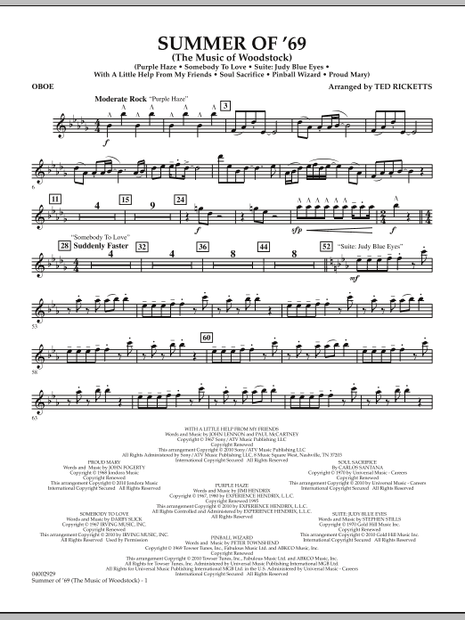 Ted Ricketts Summer Of '69 (The Music Of Woodstock) - Oboe sheet music notes and chords. Download Printable PDF.