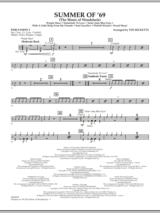 Ted Ricketts Summer Of '69 (The Music Of Woodstock) - Percussion 2 sheet music notes and chords. Download Printable PDF.