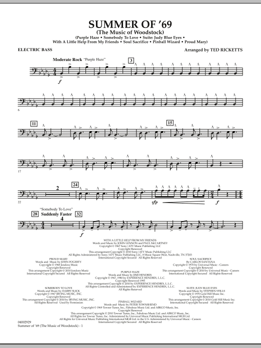 Ted Ricketts Summer Of '69 (The Music Of Woodstock) - String Bass sheet music notes and chords. Download Printable PDF.