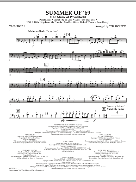 Ted Ricketts Summer Of '69 (The Music Of Woodstock) - Trombone 2 sheet music notes and chords. Download Printable PDF.