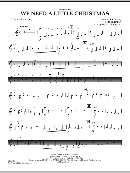 Ted Ricketts We Need A Little Christmas (from Mame) - Violin 3 (Viola T.C.) sheet music notes and chords. Download Printable PDF.