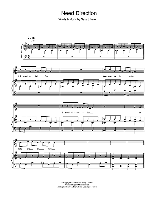 Teenage Fanclub I Need Direction sheet music notes and chords. Download Printable PDF.