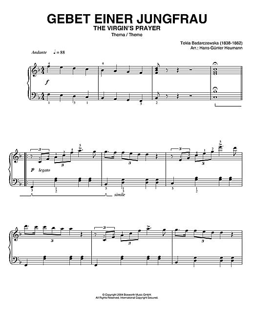 Tekla Badarczewska The Virgin's Prayer (Theme) sheet music notes and chords. Download Printable PDF.