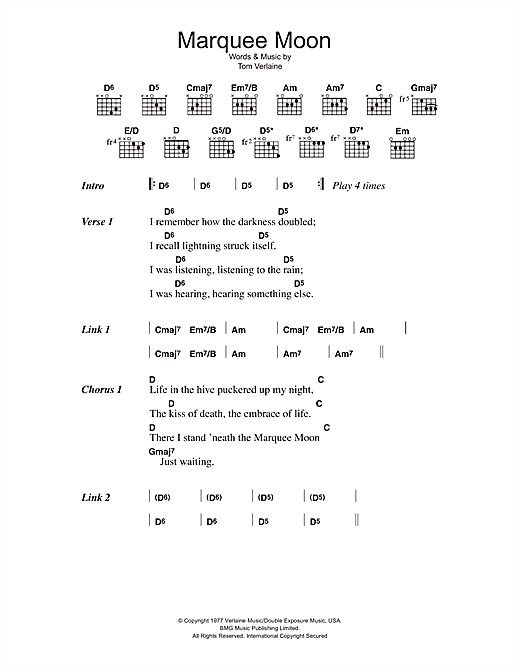 Television Marquee Moon sheet music notes and chords. Download Printable PDF.