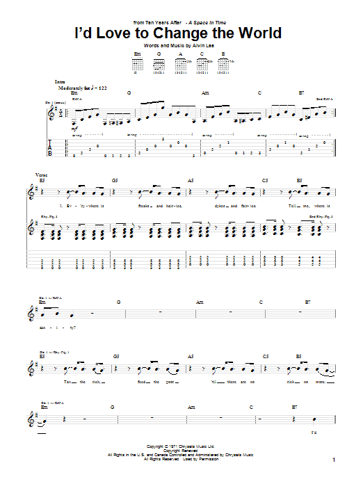 Ten Years After I'd Love To Change The World sheet music notes and chords. Download Printable PDF.