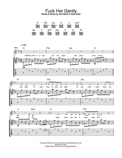 Tenacious D Fuck Her Gently sheet music notes and chords. Download Printable PDF.