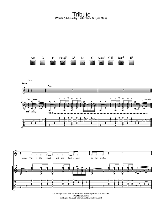 Tenacious D Tribute sheet music notes and chords. Download Printable PDF.