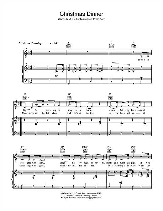 Tennessee Ernie Ford Christmas Dinner sheet music notes and chords. Download Printable PDF.