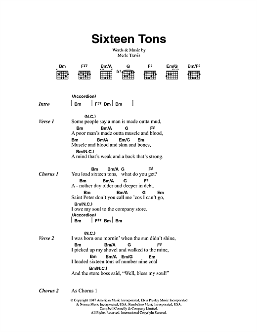 Tennessee Ernie Ford Sixteen Tons sheet music notes and chords. Download Printable PDF.