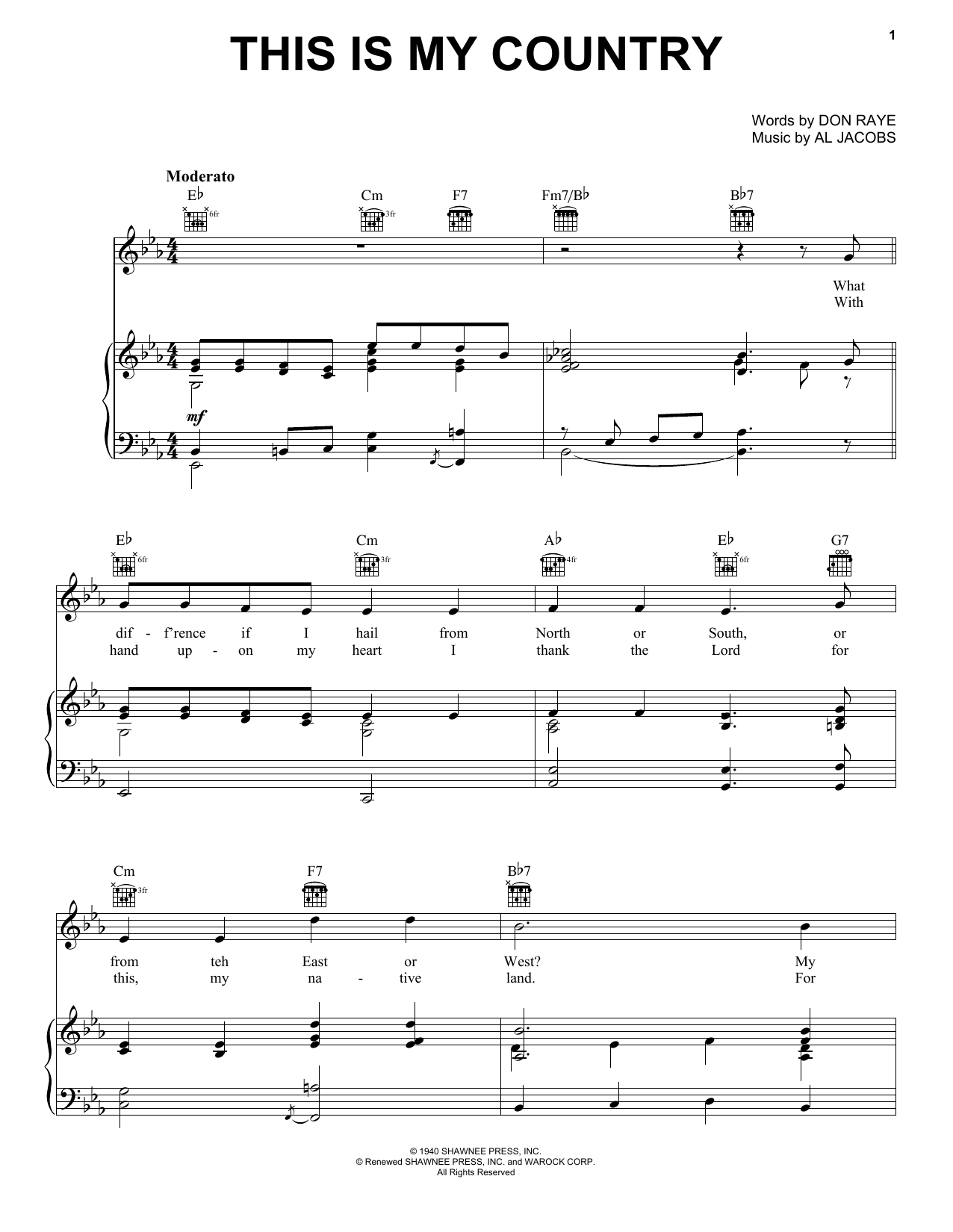 Tennessee Ernie Ford This Is My Country sheet music notes and chords. Download Printable PDF.