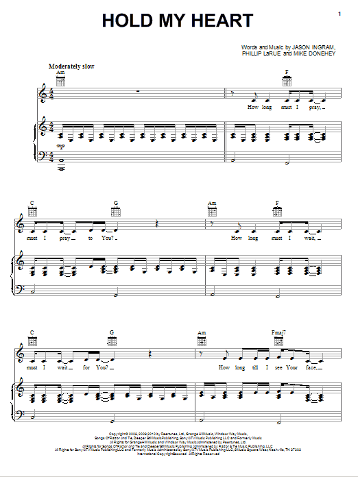 Tenth Avenue North Hold My Heart sheet music notes and chords. Download Printable PDF.