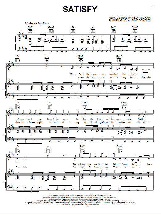 Tenth Avenue North Satisfy sheet music notes and chords. Download Printable PDF.