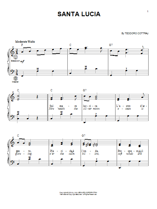 Traditional Santa Lucia sheet music notes and chords. Download Printable PDF.