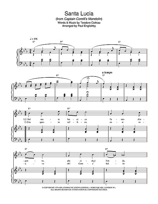 Teodoro Cottrau Santa Lucia (from Captain Corelli's Mandolin) sheet music notes and chords