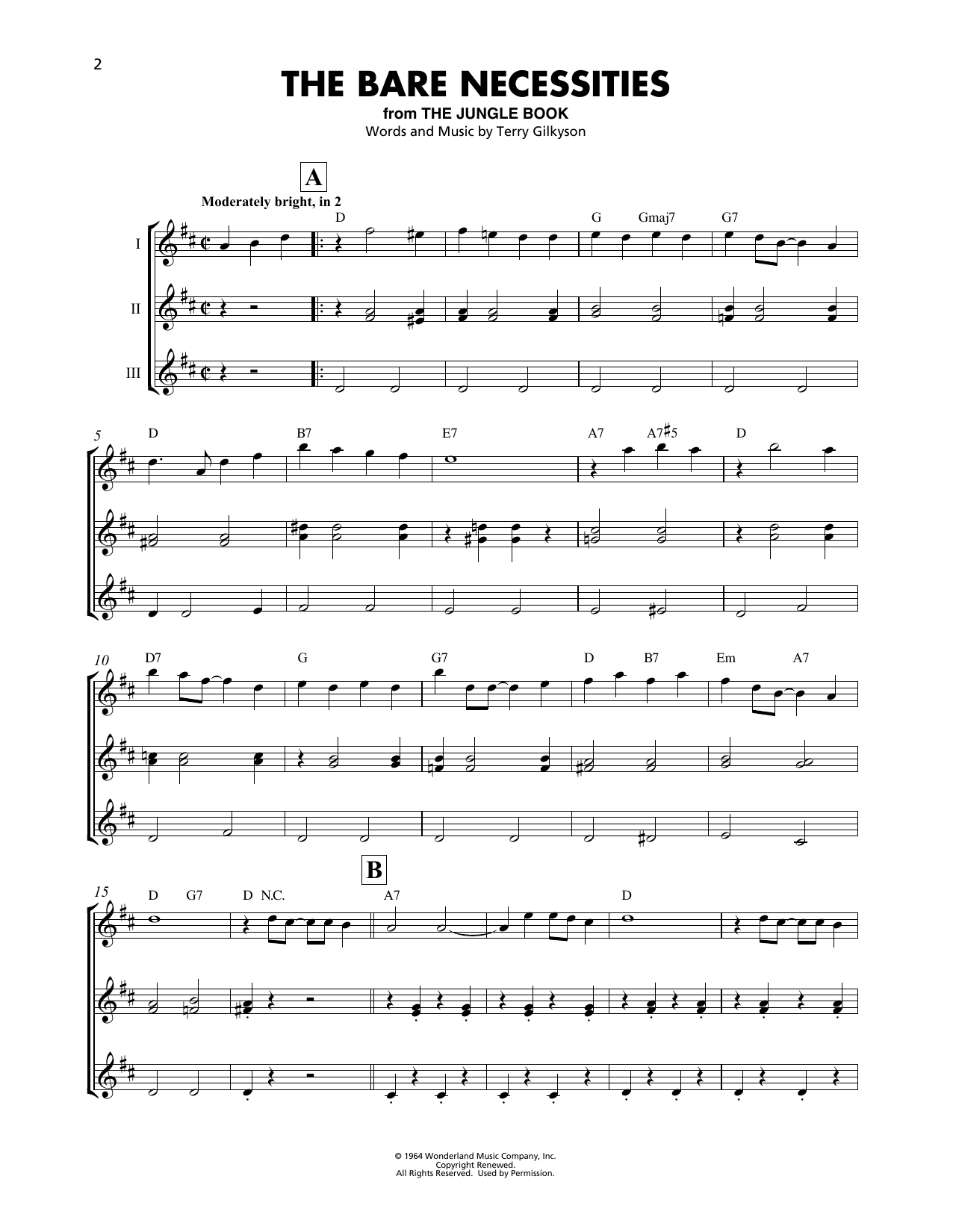 Terry Gilkyson The Bare Necessities From The Jungle Book Sheet Music Pdf Notes Chords Children Score Piano Solo Download Printable Sku 417857