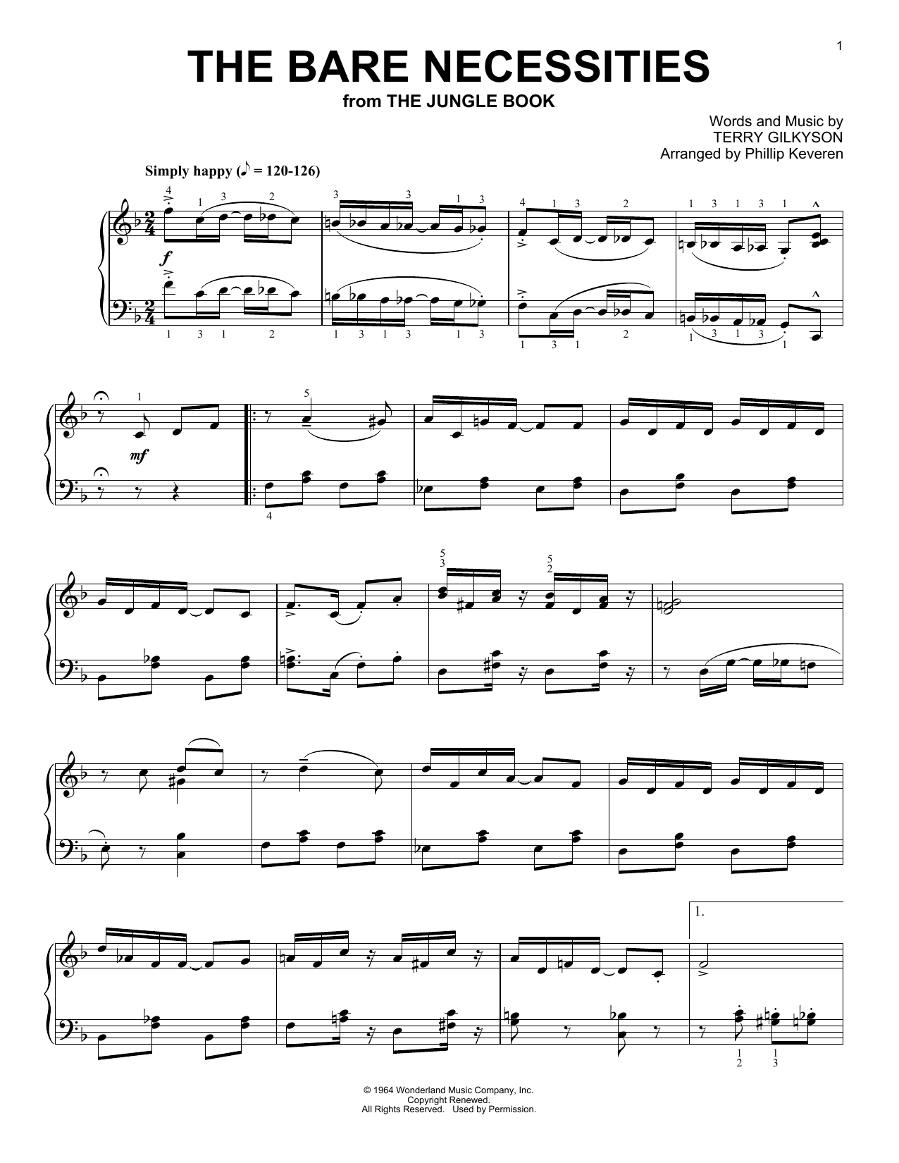 Terry Gilkyson The Bare Necessities [Ragtime version] (from The Jungle Book) (arr. Phillip Keveren) sheet music notes and chords. Download Printable PDF.