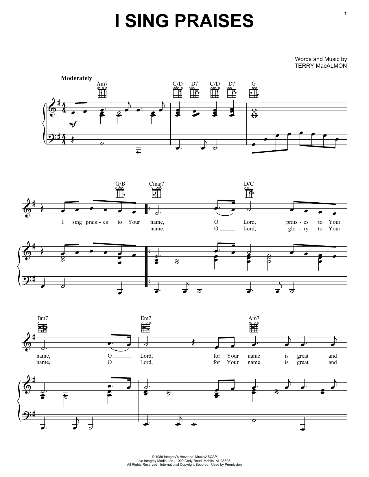 Terry MacAlmon I Sing Praises sheet music notes and chords. Download Printable PDF.