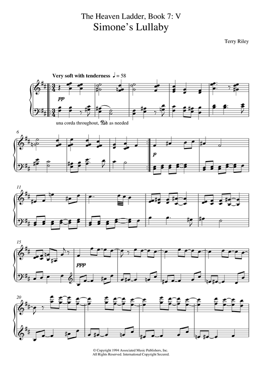 Terry Riley Simone's Lullaby (No.5 From The Heaven Ladder Book 7) sheet music notes and chords. Download Printable PDF.