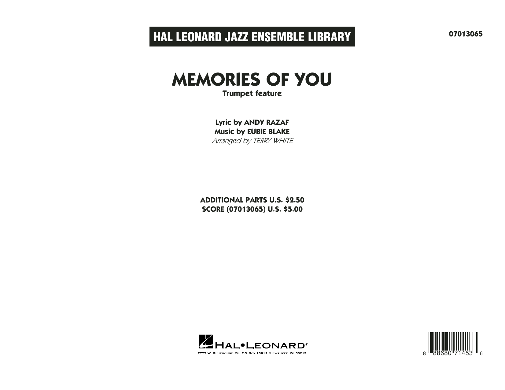 Terry White Memories of You (Trumpet Feature) - Conductor Score (Full Score) sheet music notes and chords. Download Printable PDF.