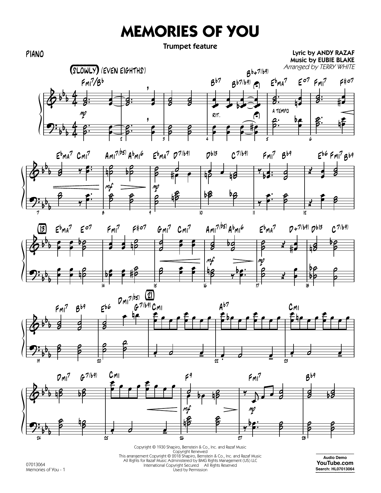 Terry White Memories of You (Trumpet Feature) - Piano sheet music notes and chords. Download Printable PDF.