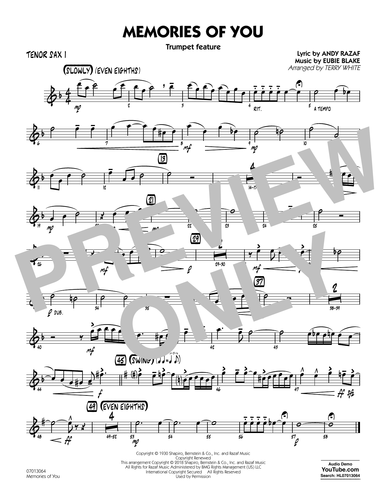 Terry White Memories of You (Trumpet Feature) - Tenor Sax 1 sheet music notes and chords. Download Printable PDF.